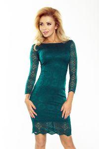 180-2 Sukienka koronkowa z ozdobnymi wykończeniami - ZIELEŃ BUTELKOWA