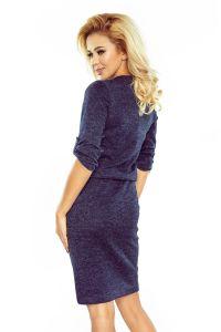 161-8 AGATA - Sukienka z kołnierzykiem sweterek - GRANATOWY MELANŻ