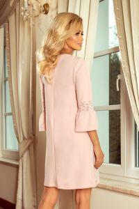 190-1 MARGARET sukienka z koronką na rękawkach - PASTELOWY RÓŻ