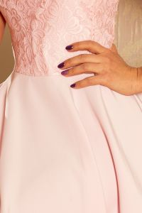 157-4 Sukienka MARTA z koronką - PASTELOWY RÓŻ