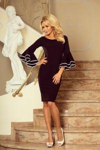 188-2 CARMEN sukienka z hiszpańskimi rękawkami - CZARNA