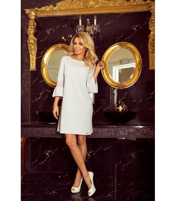 190-2 MARGARET sukienka z koronką na rękawkach - JASNY SZARY