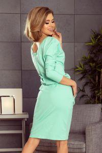 189-1 Sukienka dresowa z dekoltem na plecach - MIĘTOWA