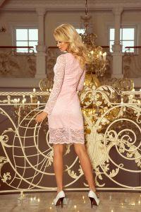 170-4 Sukienka koronkowa z długim rękawkiem i DEKOLTEM - PASTELOWY RÓŻ