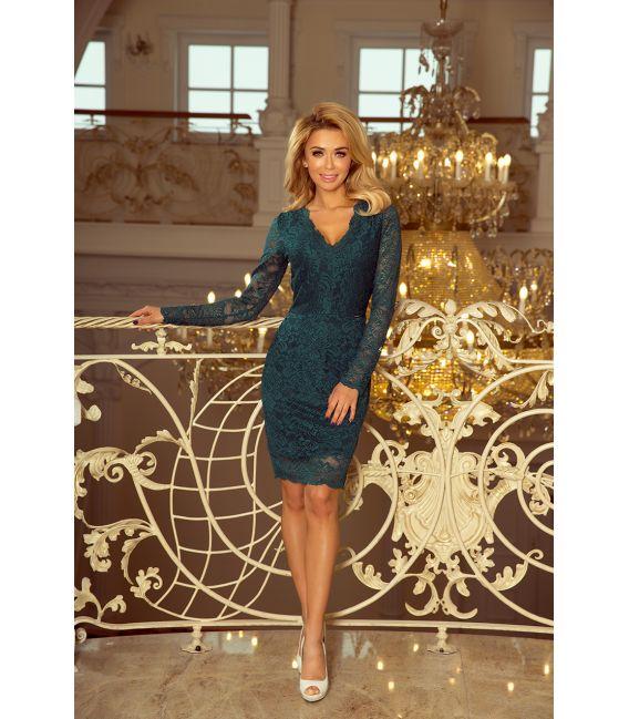 170-3 Sukienka koronkowa z długim rękawkiem i DEKOLTEM - ZIELONA