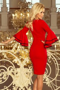 188-1 CARMEN sukienka z hiszpańskimi rękawkami - CZERWONA