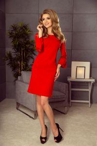 190-3 MARGARET sukienka z koronką na rękawkach - CZERWONA