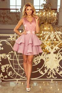 200-5 CHARLOTTE - ekskluzywna sukienka z koronkowym dekoltem - PUDROWY RÓŻ