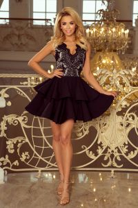200-3 CHARLOTTE - ekskluzywna sukienka z koronkowym dekoltem - CZARNA