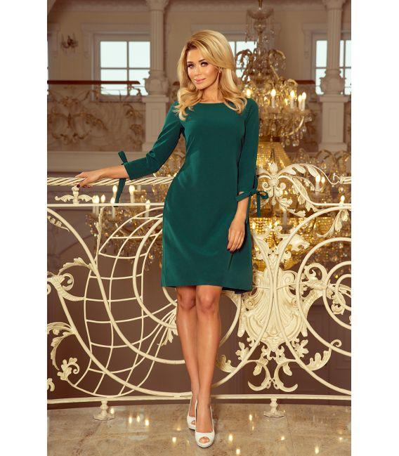 195-1 ALICE Sukienka z kokardkami - ZIELONA