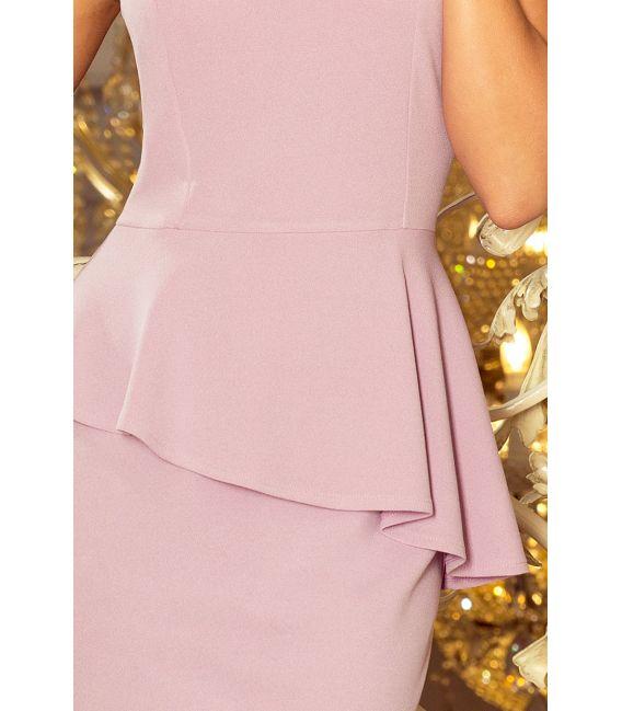 192-2 Elegancka sukienka MIDI z baskinką - LILA