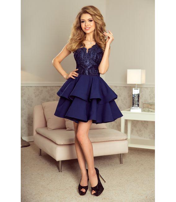 200-2 CHARLOTTE - ekskluzywna sukienka z koronkowym dekoltem - GRANATOWA
