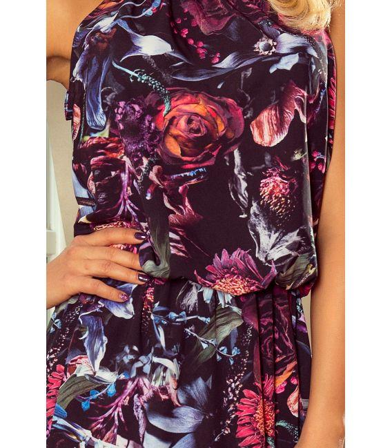 191-1 Sukienka MAXI wiązana na szyi z rozcięciem - FIOLETOWE KWIATY