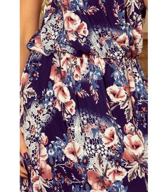 191-2 Sukienka MAXI wiązana na szyi z rozcięciem - MALWY