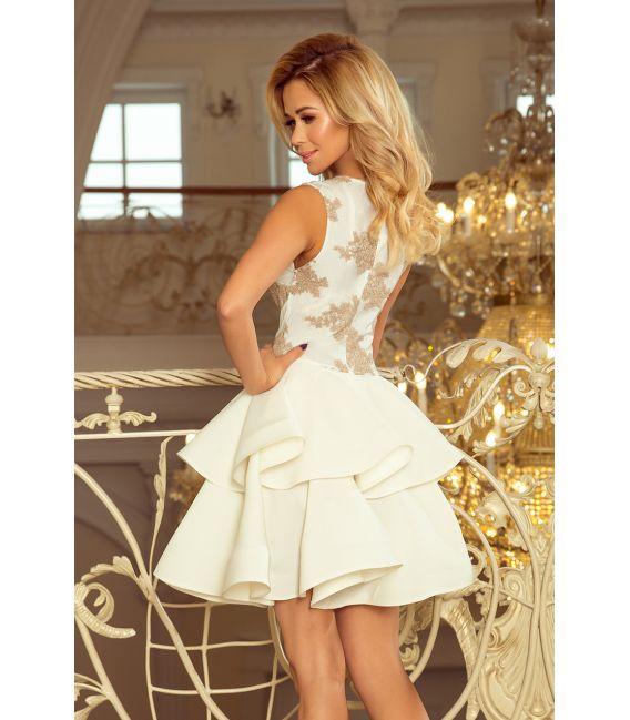 200-1 CHARLOTTE - ekskluzywna sukienka z koronkowym dekoltem - ZŁOTY/BEŻOWY + ECRU