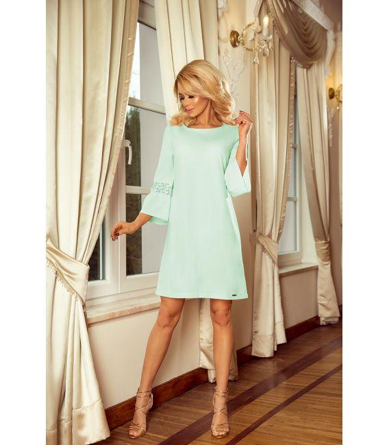 190-4 MARGARET sukienka z koronką na rękawkach - MIĘTA