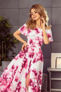 194-2 Długa suknia z hiszpańskim dekoltem - duże różowe kwiaty