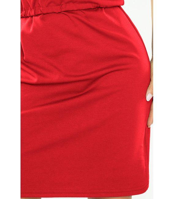 161-11 AGATA - Sukienka z kołnierzykiem - CZERWONA