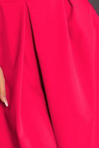 160-6 Sukienka rozkloszowana z dekoltem, kontrafałdą i kieszeniami - MALINA