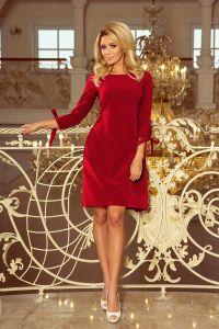 195-3 ALICE Sukienka z kokardkami - BORDOWA