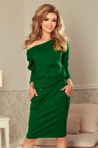 189-3 Sukienka dresowa z dekoltem na plecach - ZIELEŃ BUTELKOWA