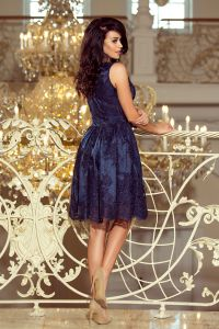 173-3 Ekskluzywna rozkloszowana sukienka - GRANATOWY HAFT