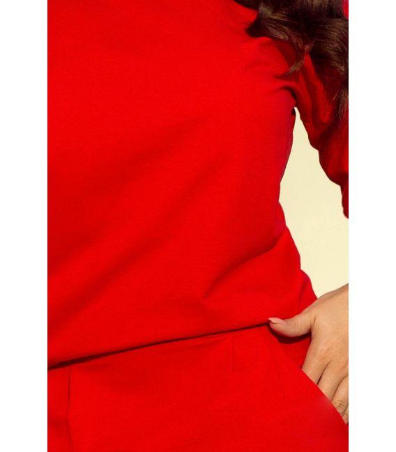 189-4 Sukienka dresowa z dekoltem na plecach - CZERWONA