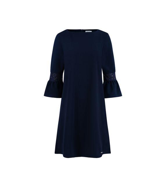 190-6 MARGARET sukienka z koronką na rękawkach - GRANATOWA