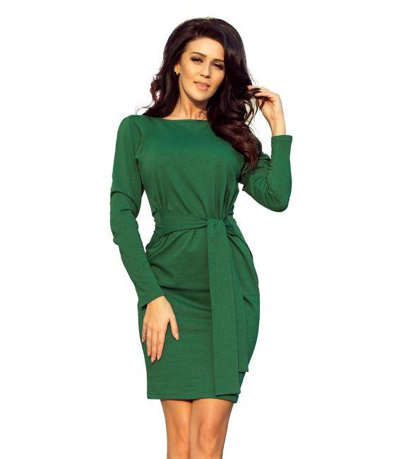 209-2 Sukienka z szerokim wiązanym PASKIEM - ZIELEŃ BUTELKOWA