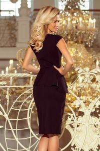192-3 Elegancka sukienka MIDI z baskinką - CZARNA