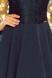 157-9 Sukienka MARTA z koronką - ZIELEŃ BUTELKOWA