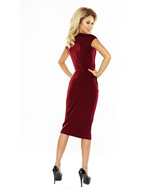 144-7 Sukienka midi SARA z podwyższonym stanem - BORDOWA