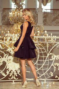 206-2 DEVI podwójnie rozkloszowana sukienka z haftowaną górą - CZARNA