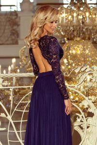 214-1 MADLEN długa suknia z koronkowym dekoltem i długim rękawkiem - GRANATOWA