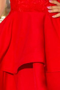 205-1 LAURA podwójnie rozkloszowana sukienka z koronkową górą - CZERWONA