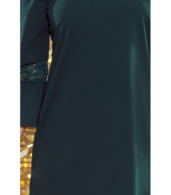 190-7 MARGARET sukienka z koronką na rękawkach - ZIELEŃ BUTELKOWA