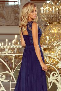215-2 LEA długa suknia bez rękawków z haftowanym dekoltem - GRANAT