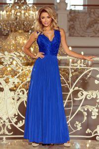 211-3 LEA długa suknia bez rękawków z koronkowym dekoltem - chaber