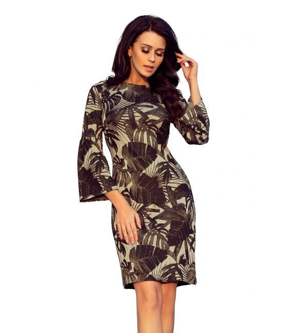 221-1 Sukienka sweterkowa z rozkloszowanym rękawkiem - LIŚCIE KHAKI