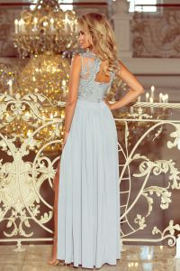 215-1 LEA długa suknia bez rękawków z haftowanym dekoltem - SREBRNA