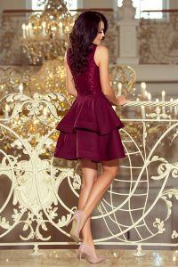 205-2 LAURA podwójnie rozkloszowana sukienka z koronkową górą - BORDOWA