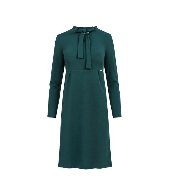 158-3 OLA sukienka trapezowa z wiązaniem pod szyją - ZIELEŃ BUTELKOWA