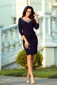 224-1 Sportowa sukienka ze ściągaczem - GRANATOWA