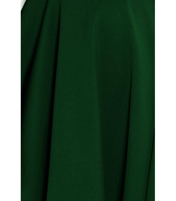 114-10 Rozkloszowana sukienka - dekolt w kształcie serca - ZIELEŃ BUTELKOWA