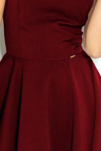 114-11 Rozkloszowana sukienka - dekolt w kształcie serca - BORDOWA