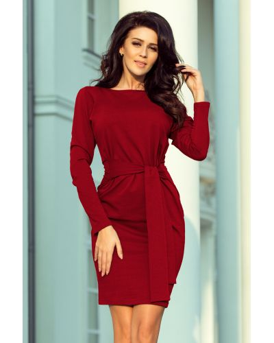 209-3 Sukienka z szerokim wiązanym PASKIEM - BORDOWA