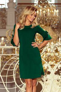 217-2 NEVA Trapezowa sukienka z rozkloszowanymi rękawkami - ZIELEŃ BUTELKOWA