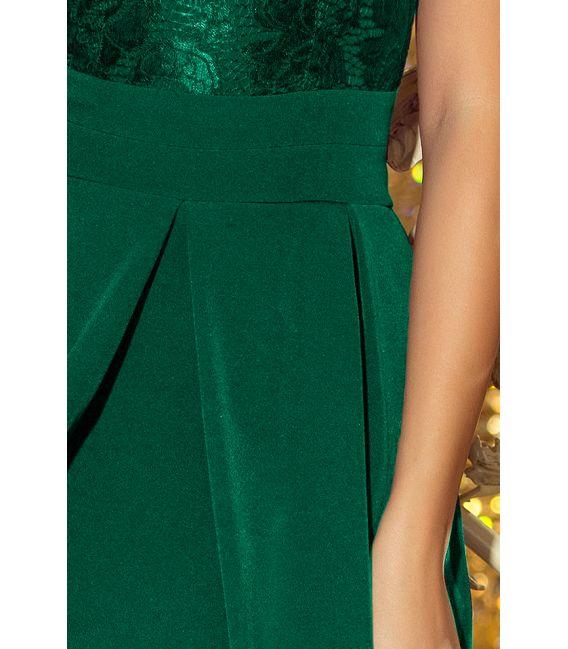208-4 Sukienka z koronkowym dekoltem i kontrafałdami - ZIELEŃ BUTELKOWA