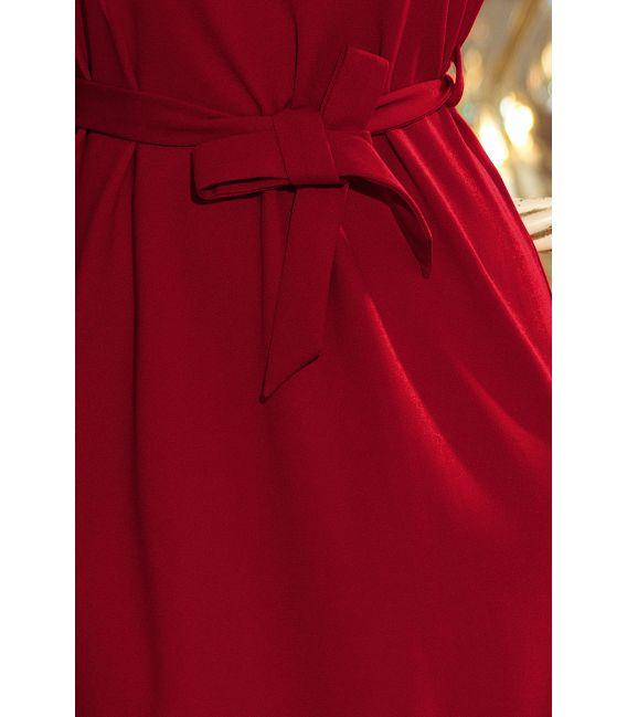 193-7 MAYA Sukienka z falbankami i paskiem - BORDOWA