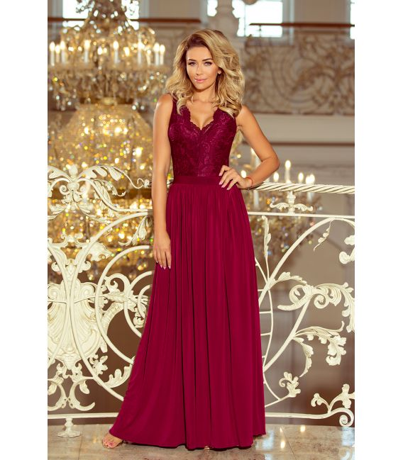 211-2 LEA długa suknia bez rękawków z koronkowym dekoltem - BORDOWA